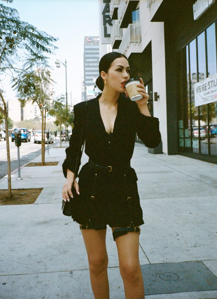 Los Angeles BDSM practitioner Mistress Iris wears leather in public.