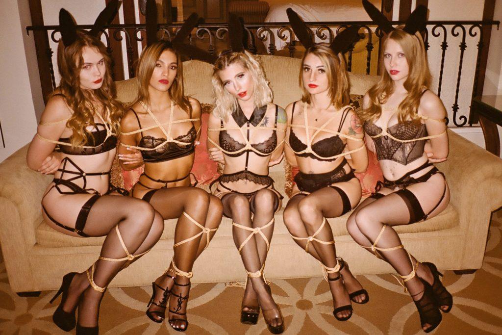 Londom Mistress Iris ties lingerie clad girls in Kinbaku rope bondage.